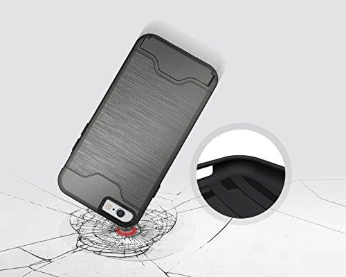 Coque iPhone 6,iPhone 6S Housse,Slynmax Design de mode unique extérieur[Combo hybride][Lisse][Ultra mince][Pare-chocs]Résistant aux Rayures Étui Shock-Absorption Bumper Case des chocs Cover Shell with Gris