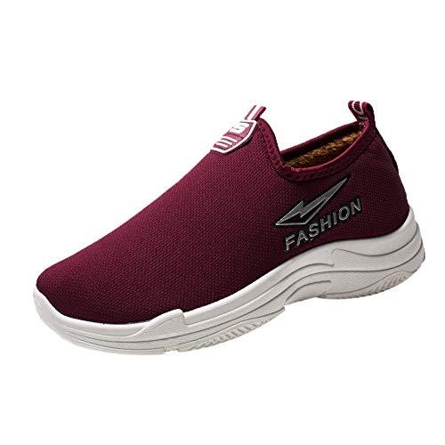 ZIYOU Frauen Sneaker Beiläufige Plus Samt Warme Wohnungen Laufschuhe Winter Plattform Faule Schuhe Turnschuhe(Weinrot,40 EU)