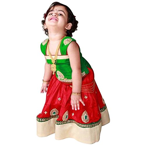 White Button Baby Girl's Red Green Pure Glace Cotton ReadyMade Lehenga Choli...