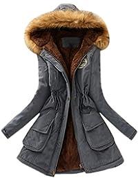 Tefamore Femmes Fourrure à Fourrure Chaude Collier à Capuche Veste Slim Winter Parka Outwear Coats