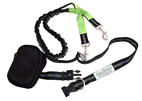 Max-Doggy Laisse mains-libres pour chien entièrement réglable avec ceintures élastiques,