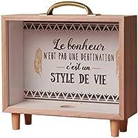 Yardwe Caja de Ahorro de Madera Piggy Banks Caja de Ahorro Adornos de decoración de Escritorio