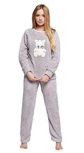 Sensis - Ensemble de pyjama - Imprimé animal - Manches Longues - Femme Gris - Gris/blanc