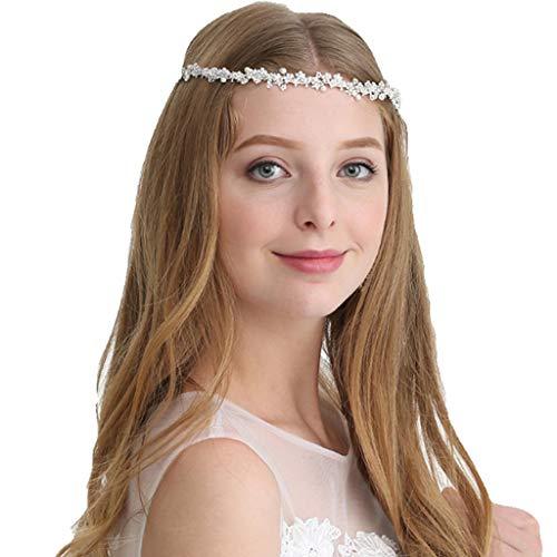 QJKai Braut Perle Stirnband Handgemachte Kristall Kopf Band Braut Kopfschmuck Hochzeit Strass Haarschmuck Kostüm Zubehör Für ()