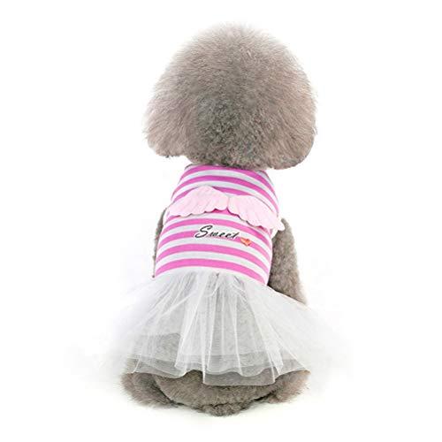 Pet Puppy Kleider Kleidung Niedlich Und Süß Engel Kleid Tutu Rock Pudel Shih Tzu Hochzeit KostüM (Rosa Pudel Rock Kostüm)