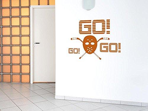 Wandtattoo Aufkleber Wanddeko für Wohnzimmer Spruch Go! Eishockey Maske (38x30cm // 958 baby (Maske Baby Doll)