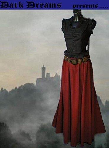 Dark Dreams Gothic Mittelalter LARP Rock Luana einfarbig, Größe:freesize;Farbe:rot - 2