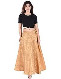 SNEH Women's Brocade Silk Skirt (SN023,Golden,Free Size)
