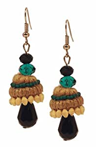 Indian Jute Dangle Temple Drop Earrings with Wooden Beads & Crystals Birthday Anniversary Gift Ideas for Women & Girls