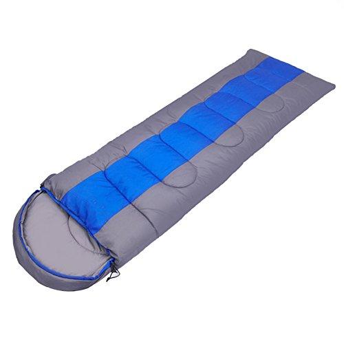 Kereith campeggio sacco a pelo, sacco nanna 3 stagioni busta con cappuccio, interno e esterno adulto sacco nanna invernale per trekking viaggio zaino con sacchetto di compressione (blue/grey)