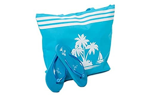 Beach Bag Womens WITH Flip Flops SET Summer Tote Bags Shoulder Bag Shopper and Pool Shoes Palm Tree Pattern by Airee Fairee (2 Piece Beach Bag + Flip Flops (UK 3-4), Blue)