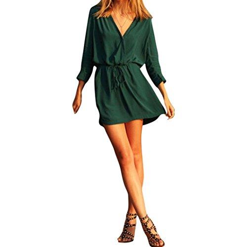 FEITONG Las mujeres con cuello en V Gasa de manga larga verde Parte del vestido de noche mini vestido ocasional del verano (XL,