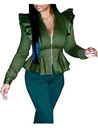 1bd7b4d39fd23 Rcool Damen 50s Blusenshirt Retro Top Pinup Kurz T Shirts mit Puffärmeln  mit Mehreren…