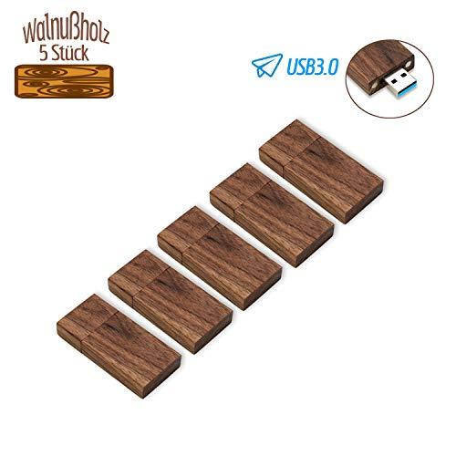 Holz USB Stick 32GB 3.0 5 Stück JBOS Hölzern Flash Speicherstick USB3.0 Schnellen Geschwindigkeit Flash Drive Wood USB-Flash-Laufwerk als Geschäftsgeschenk oder Geschenk für Freunde, Walnußholz