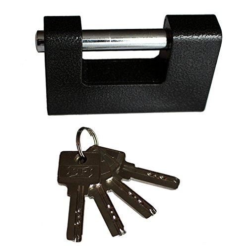 Starkes 1kg Vorhängeschloss mit 4 Schlüsseln von Kurtzy - Industrielles Schutz Schloss aus Gehärtetem Massivem Stahl für den Außeneinsatz - Für Garagentor, Container, Schuppen, Schließfach, Lager