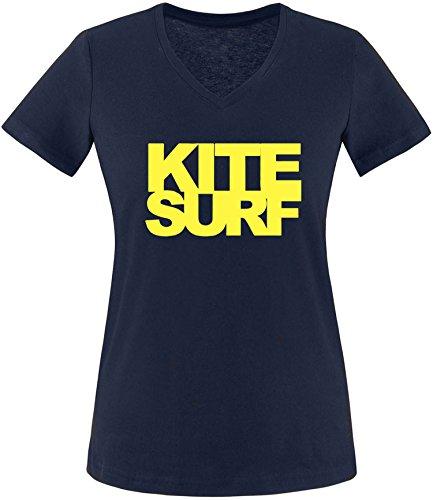 EZYshirt® Kitesurf Damen V-Neck T-Shirt Navy/Gelb