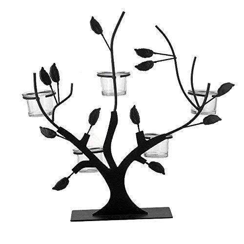 HAIZHEN Europäische schwarzes Eisen Zweig Leuchter Home Zubehör Hochzeit Western Kerzenhalter Bar Kreative Kandelaber Tisch Deko Kerze Display Aufsteller mit 5-Kerze Cups (Cup Zweig)