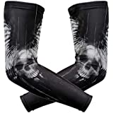 Arm Sleeves 3D Skull Wings Mens Sun Uv Protection Sleeves Arm Warmers Cool Long Set Covers