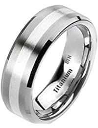 Mens Titanium Ring -925 Sterling Silver Inlay Titanium Classic Luxury Wedding Engagement Jewellery Band Ring -(Available in Most Sizes)