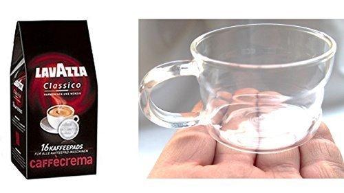 Lavazza Kaffeepads Caffè Crema Classico,1er Pack, 1 x 16 Kaffee Pads + Design Glastasse, Kaffeetasse, Kaffee, Tasse, Glas, 200ml, 4er Pack im Geschenk Karton