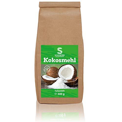 Bio Kokosmehl teilentölt, Kokosnussmehl low carb, glutenfreies Mehl, Kokosmehl gemahlen, veganes Coconut Mehl, 500g