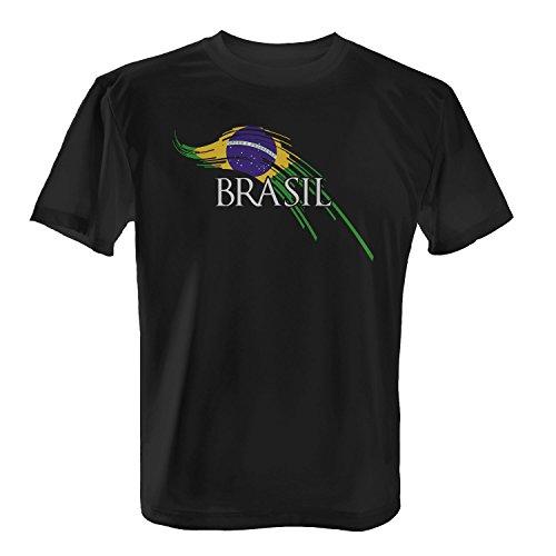 Fashionalarm Herren T-Shirt - Brush Flagge Brasil | 2018 Fan Shirt Trikot Fußball Weltmeisterschaft WM Brasilien Fahne Weltmeister Fanartikel, Farbe:Schwarz;Größe:L