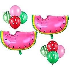Idea Regalo - 22 pezzi decorazioni a tema anguria, palloncini di anguria palloncini in lamina di lattice palloncini verdi agata a pois palloncini verdi rossi per matrimoni estivi forniture per feste di compleanno