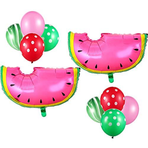 22 Stücke Wassermelone Thema Dekorationen Satz, Wassermelone Balloons Latex Folie Balloons Grüne Achat Balloons Polka Punkt Rote Grüne Ballone für Sommer Hochzeit Geburtstag Party Lieferungen