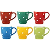 KITTENS Multi Color Tea Cups/Coffee Mugs With White Dot Pattern - Set Of 6