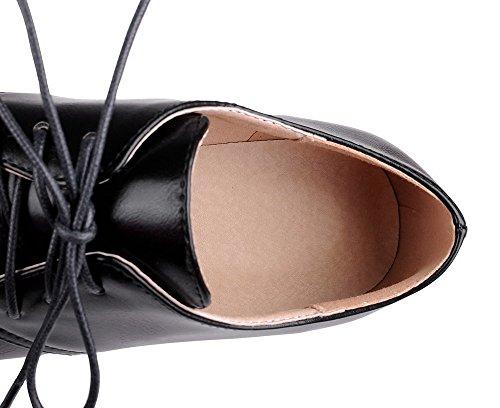 VogueZone009 Donna Tacco Basso Finta Pelle Scamosciata Puro Allacciare Scarpe A Punta Ballerine Nero