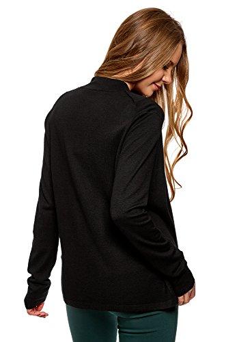 oodji Collection Damen Cardigan ohne Verschluss mit Fließenden Seiten Schwarz (2900N)