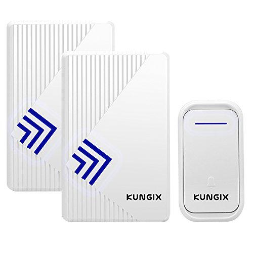 Sonnette de Kit sans Fil, Kungix Kit de Carillon Electrique avec 2 récepteurs, 38 Mélodies, 150m, Blanc