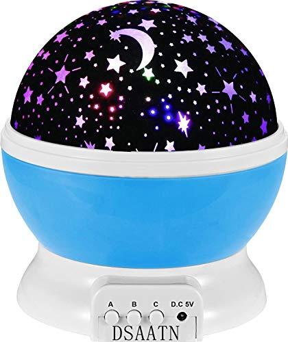 New Generation Sun und Stern-Beleuchtung Lampe 4 LED Perlen 360 Grad Romantische Lamp entspannende Stimmung Lichtprojektor-Baby-Kinderzimmer-Schlafzimmer Kinder Zimmer und Weihnachts-Geschenk (blau)