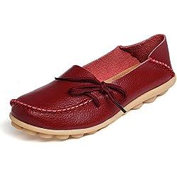 Mujer Mocasines de Cuero Moda Loafers Casual Zapatos de Conducción Cómodos Zapatillas del Barco