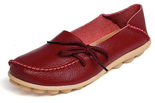 Eagsouni Damen Mokassins Bootsschuhe Leder Loafers Freizeit Schuhe Flache Fahren Halbschuhe Slippers, Weinrot A, 39 EU - Ballerina Flache Slipper