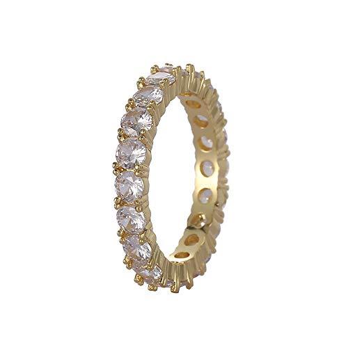 4 MM 1 Reihe Solitaire Tennis Herren Ring Kupfer Charme Gold Silber Farbe Kubikzircon Iced Ring Mode Hip Hop Schmuck,Gold,8 - Herren Ring Versprechen Gold