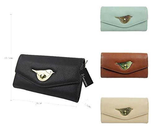 Kukubird Prämie Geldbörse Portemonnaie Large Size Ladies Geldbörse Clutch Brown