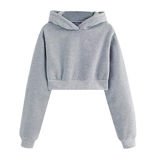 AMUSTER Bekleidung Frauen Einfarbig Rundhals Lässig Locker Langarm Sweatshirt Tops Bluse Mode 2018 Herbst Langarm Kurze Sweatshirt Hoodies Crop Pullover