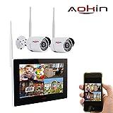 Aokin Überwachungskamera Set 2.4G Kabellos NVR Sicherheitssystem mit 9