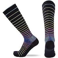 Ruiting 1 Paar Unisex Kompressionssocken Sports Anti Rutsch Lange Socken Bequeme Stretch Strümpfe Bunte Streifen Sport-Produkte