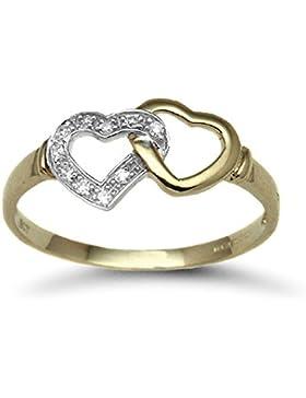 Jewelco London Damen Gold Gelb 9k Diamant Ring