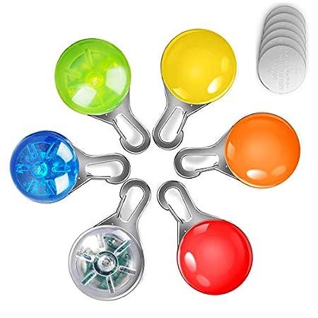 Led Lichter für Hunde und Katzen/Leuchtend Haustier Halsband Licht/Wasserdicht Sicherheitslicht LED-Leuchten Blinklicht für Kinder Läufer/Jogger/Walker/Schulranzen 6 Stück