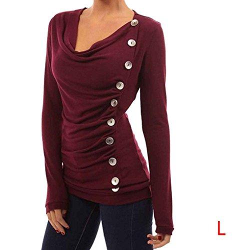 Camicetta a maniche lunghe casual da donna button down Tee Shirts O Neck Pullover Autumn Spring Minzhi Vino rosso