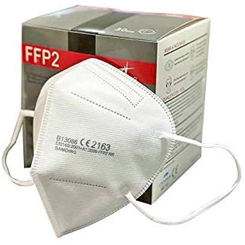 30 Mascherine FFP2 con certificazione Europea CE 2163 a 5 strati PDI con comodi passanti per le orecchie Samding alto filtraggio