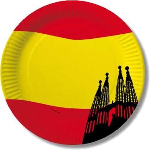 10 Pappteller im * Spanien * für Party und Geburtstag von DH-Konzept // Feier Fete Set Spain Espana Spanische Nacht Mottoparty Rot Gelb Teller Partyteller (Rot Party Pappteller)