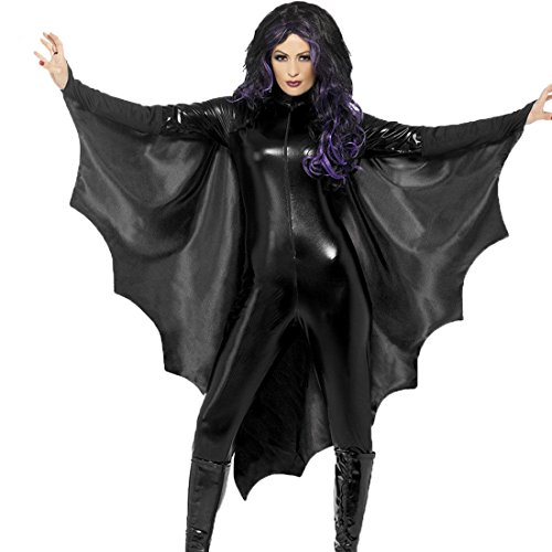 Honeystore Damen's Kostüm Halloween Karneval Fledermaus Hexe Kostüme Vampir Fledermausflügel Cosplay Bat Wings Umhang Damenkostüm Schwarz S