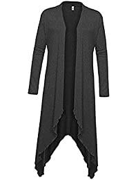 Phenovo Womens Ladies Long Sleeve Waterfall Asymmetric Drape Open Long Maxi Cardigan