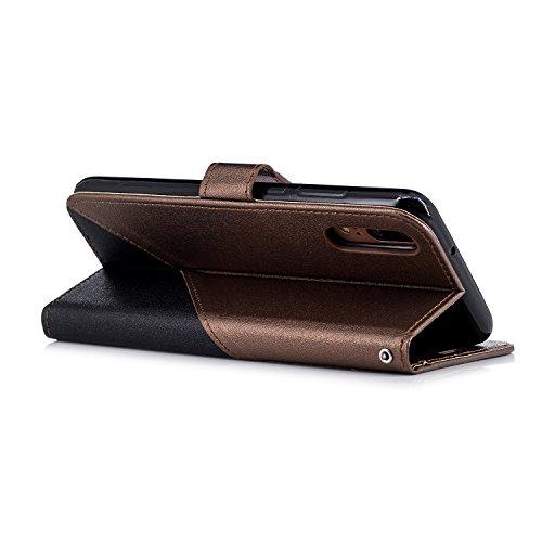 Surakey Coque Compatible avec Huawei P20,Etui Huawei P20,Huawei P20 Cuir PU Housse ?Rabat Portefeuille ?ui Flip Case Folio ?Clapet Stand de Fermeture magn?ique,Noir+Marron