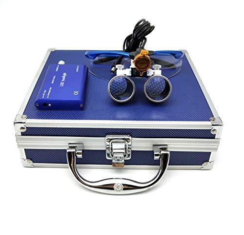 BONEW 3,5 x Dental Fernglas + 3 W LED Scheinwerfer mit Filter + Aluminiumbox blau