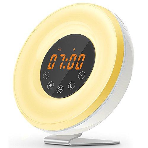VOYOMO Wake Up Licht Wecker, Lichtwecker mit FM Radio & Sonnenaufgangssimulator, Smart Snooze Touch Control Nachtlicht Wecker für Kinder oder Erwachsene (Neue Version)